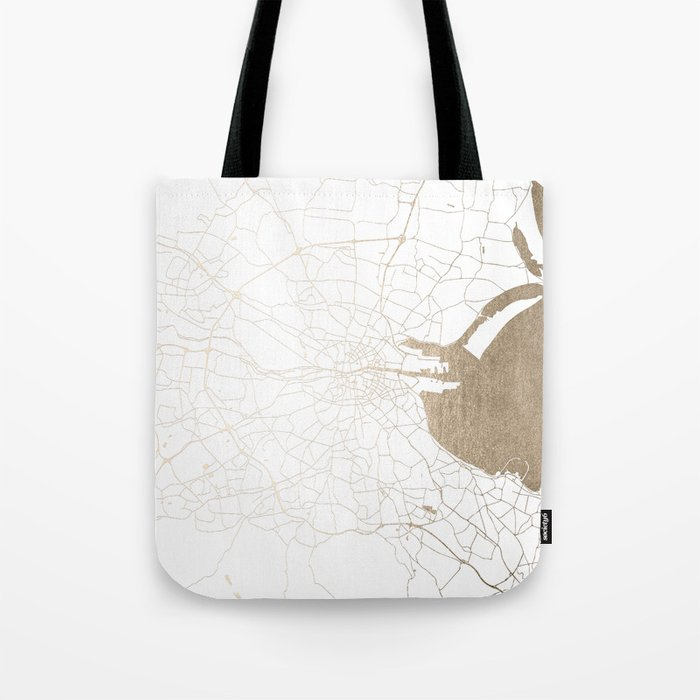 Dublin White on Gold Street Map II Tote Bag