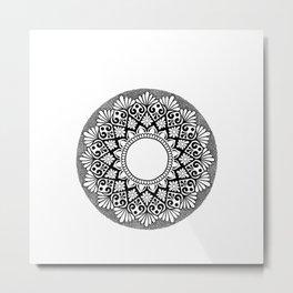 Mandala B&W Metal Print