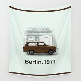 A Trabbi in Berlin Wall Tapestry