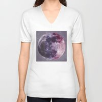 moon phases V-neck T-shirts featuring Phases of the Moon by De(b)sign