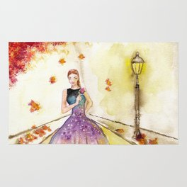 Autumn Girl Watercolor Illustration. Rug
