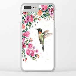 Hummingbird and Flowers Watercolor Animals Clear iPhone Case