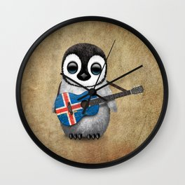 Baby Penguin Playing Icelandic Flag Acoustic Guitar Wall Clock
