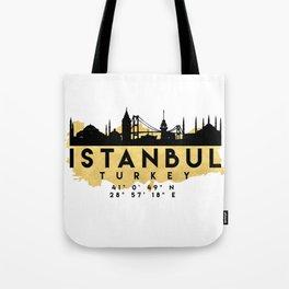 ISTANBUL TURKEY SILHOUETTE SKYLINE MAP ART Tote Bag