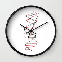 dna Wall Clocks featuring DNA by Bernard Lee