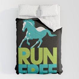 Run Free – Gallop (on Black) Inspirational Words Comforters