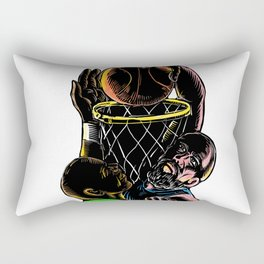 Basketball Player Dunking Blocking Ball Tattoo Rectangular Pillow