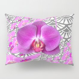 GREY & CERISE PINK ORCHID FLOWERS  WHITE PATTERN Pillow Sham