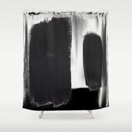 Black And White Minimalist Mid Century Abstract Ink Art Minimal Brush Strokes Black Color Block Shower Curtain