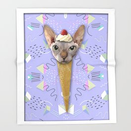 SPHYNX CAT ICE CREAM Throw Blanket