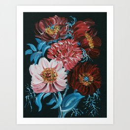 THANKFULNESS/ RED AND PINK FLORAL/ BLUE LEAVES  Art Print