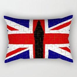 Union Flag With Big Ben Tiled Rectangular Pillow