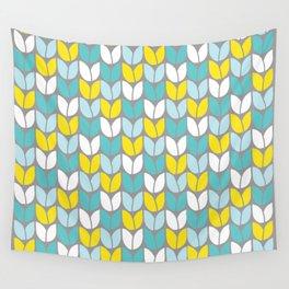 Tulip Knit (Aqua Gray Yellow) Wall Tapestry