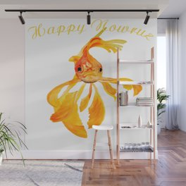 Happy Nowruz Persian New Year Goldfish Isolated Wall Mural
