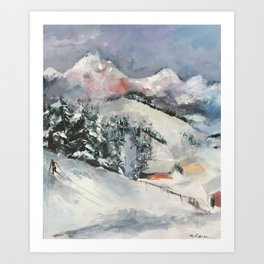 Rocky Mountains Cross-Country Skier Art Print