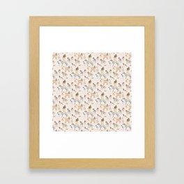 Hound dogs pattern on neutral background Framed Art Print