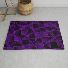 Mirrored gradient shards of curved violet intersecting ribbons and dark lines. Rug