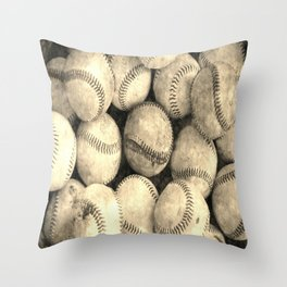 Vintage Baseballs Throw Pillow