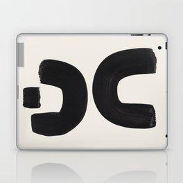 Mid Century Modern Minimalist Abstract Art Brush Strokes Black & White Ink Art Tribal Marking Laptop & iPad Skin