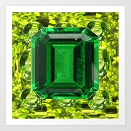 GREEN EMERALD & PERIDOT GEMS VINETTE Art Print