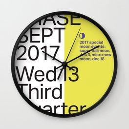 Third Quarter Moon - Sept 2017 Wall Clock