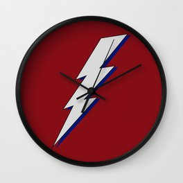Just Me and My Shadow Lightning Bolt - Dark Red Grey Blue Wall Clock