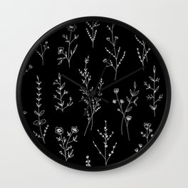 New Black Wildflowers Wall Clock