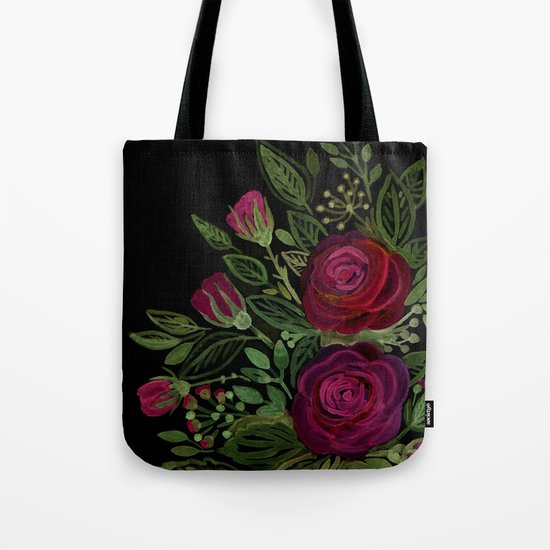 A bouquet of roses on a black background . Tote Bag