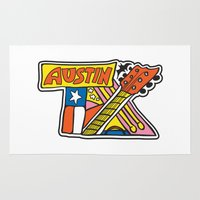 austin Area & Throw Rugs featuring Austin TX by Brandon Ortwein