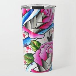 Snake and roses Travel Mug