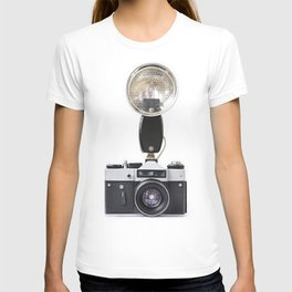 Old film cameras and flash T-shirt