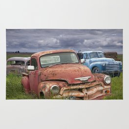 Vintage Auto Bodies in a Junk Yard Rug