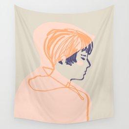 Abstraction_GIRL_PINK_RAINCOAT_Minimalism_001 Wall Tapestry