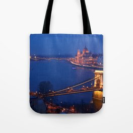 Panorama of Budapest, Hungary, with the Chain Bridge and the Parliament. Tote Bag