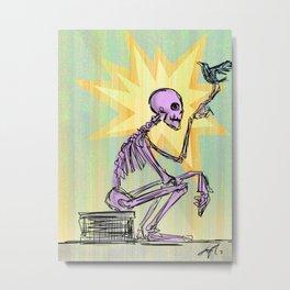 Skeleton & Crow Metal Print