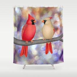 cardinals on a branch - bokeh Shower Curtain