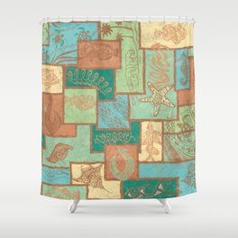 Polynesian Tapa Fish Collage Shower Curtain