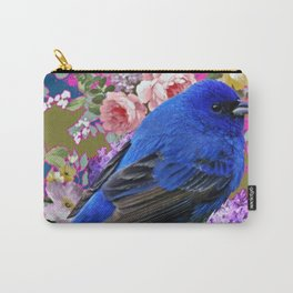Tropical Blue Bird Garden Flower Art Design Carry-All Pouch