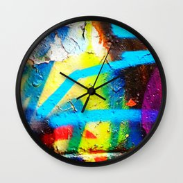 Aged Graffiti Wall Clock