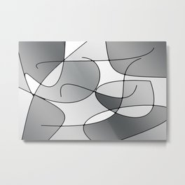 ABSTRACT CURVES #1 (Grays & White) Metal Print