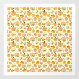 Watercolor Peaches Pattern Art Print
