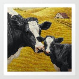 Holstein Cow and Cute Calf Art Print
