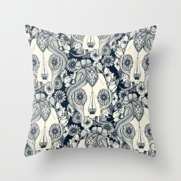 cat skull damask indigo Throw Pillow