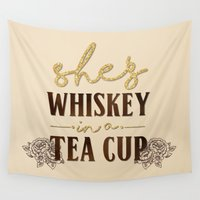 whiskey Wall Tapestries featuring She's Whiskey in a Teacup by ASerpico Designs