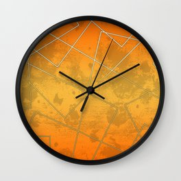 Pattern with abstract lines in orange background Wall Clock