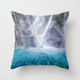 Stirling Falls 4k waterfalls Fiordland cliffs South Island New Zealand Throw Pillow
