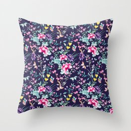 Floral Chinoiserie - Navy Throw Pillow