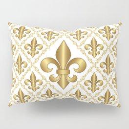 Gold Fleur-de-Lis Pattern Pillow Sham