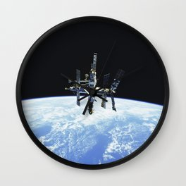 Russias Mir space station is backdropped against Earths horizon Wall Clock