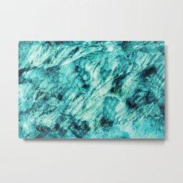 Aqua Blue Marble Pattern Metal Print